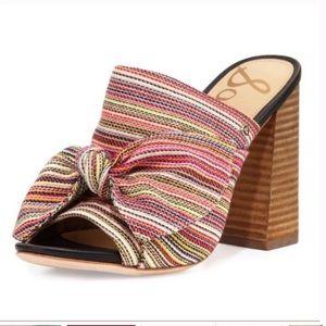 Sam Edelman Yumi Striped Bow Mules Block Heels